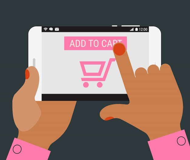 Hand pressing add to cart button on mobile device