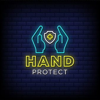Hand protect neon signs style