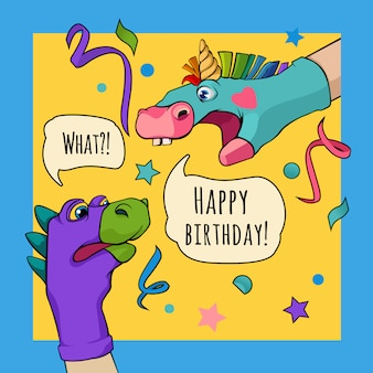 Hand puppet dragon and unicorn say happy birthday
