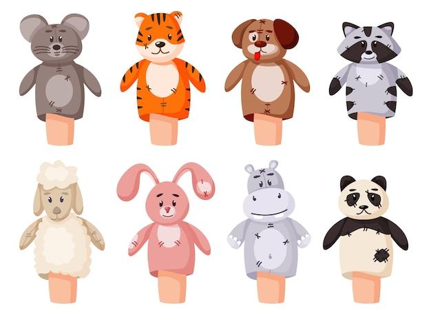 Набор ручной куклы, изолированные на белом фоне