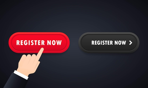 Hand pushing red register now button