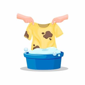 手が汚れたtシャツをバケツいっぱいの石鹸に入れて、白い背景の漫画イラストの服のシンボルを洗う