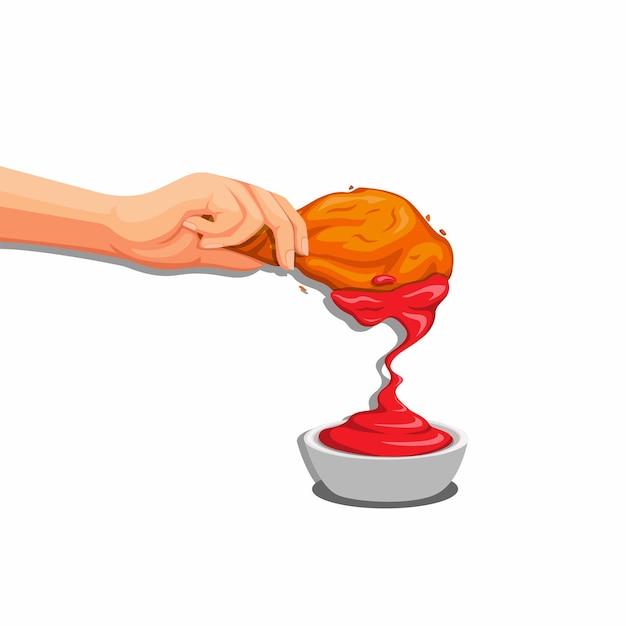 토마토 소스, 음식에 바삭한 프라이드 치킨을 손으로 넣습니다.