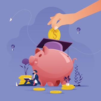 Hand put gold coin in piggy bank-education savings and investment concept