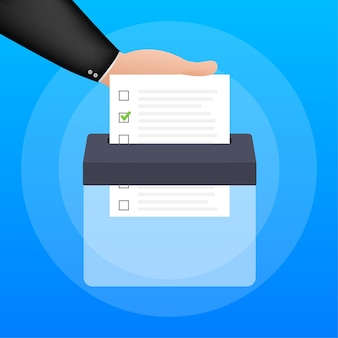 Hand puts vote bulletin into vote box. voting concept. ballot box. vector stock illustration.