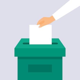 손은 투표함에 투표 투표 용지를 넣습니다.