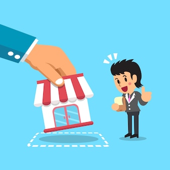 Hand putting business store to businesswoman illustration