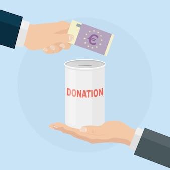 손을 항아리에 유로 현금을 넣어. 기부, 돈, 자선, 자원 봉사 개념. 기부금 상자