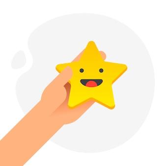 白い背景に笑顔の顔で5つの金の星を置く手。品質、意見、成功のコンセプト。フラットなデザイン。ベクトルイラスト。