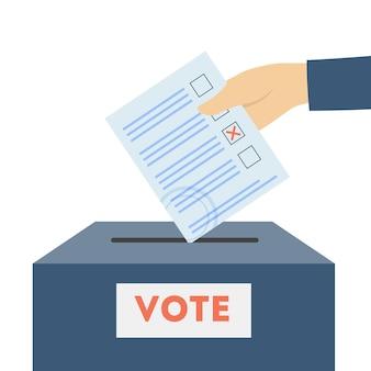 投票用紙を箱に入れて手で。投票、選択、大統領フラットベクトルイラスト。民主主義と選挙