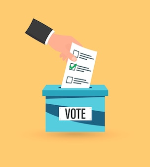 Hand putting voting paper in the ballot box. voting concept. casting his vote into ballot box. voting ballot in a slot of box. flat design vector illustration