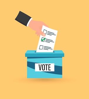 投票箱に投票用紙を手で入れます。投票の概念。彼の投票を投票箱に投じる。ボックスのスロットで投票用紙を投票します。フラットなデザインのベクトル図