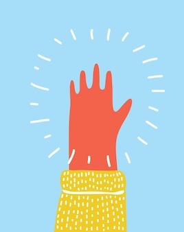 手を上げた手のひらが 5 本の指を伸ばした。