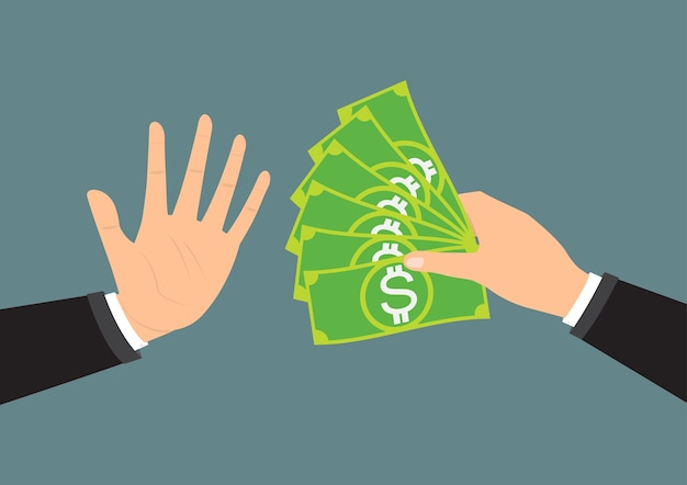 Hand refusing the offered bribe for company corruption