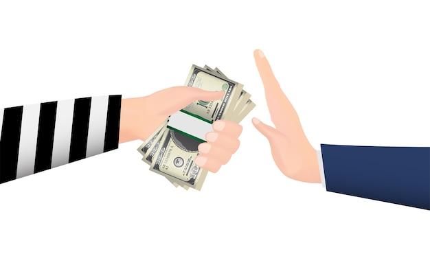 도둑 손에서 돈 지폐를 거부하는 손