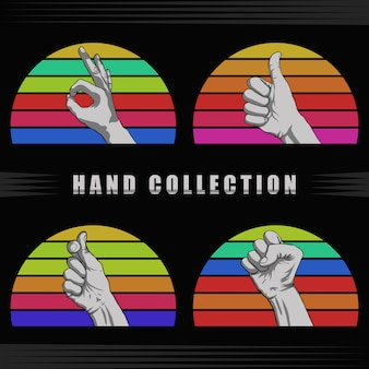 Hand retro sunset