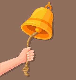 Рука звонит в колокол со значком веревки в плоском векторе