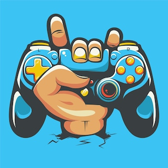 Hand rock holding playstation stick controller cartoon illustration premium vector