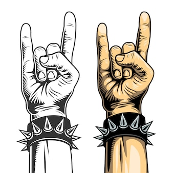 Hand in rock sign.