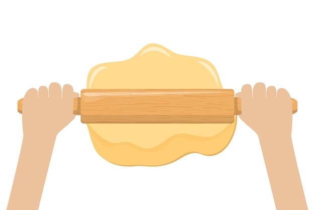 麺棒で生地を手で転がす