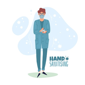 Hand sanitising illustration. the nurse uses hand sanitizing.