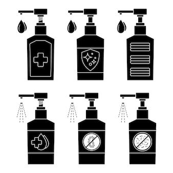 손 세정제. 손 소독제 병, 세척 젤, 스프레이 세트. 살균 액체 비누. 알코올 기반 방부제 또는 항균 젤. 병의 실루엣입니다. 방부제 적용. 글리프. 벡터