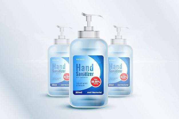 Шаблон макета контейнера для дезинфицирующего средства для рук в реалистическом стиле