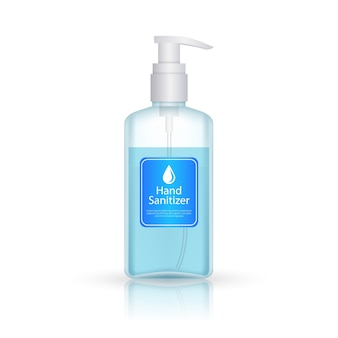 Hand sanitizer bottle with pump realistic style
