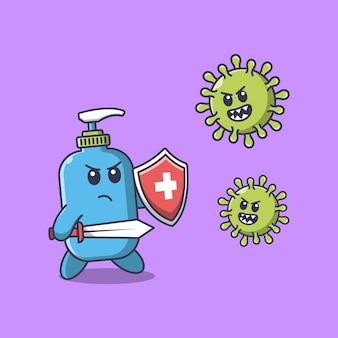 Hand sanitizer fight corona virus using a sword cartoon illustration