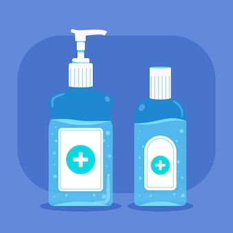 Hand sanitizer in flat design