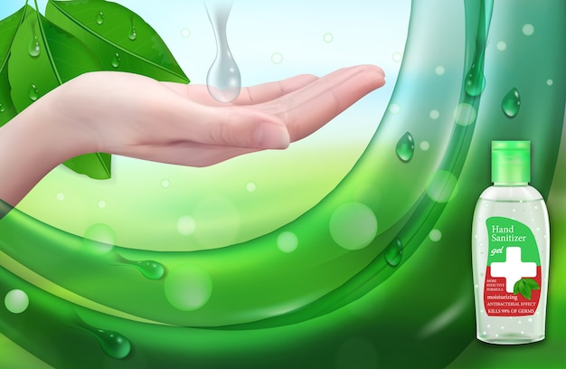 Дезинфицирующий гель для рук рекламная защита от вирусов