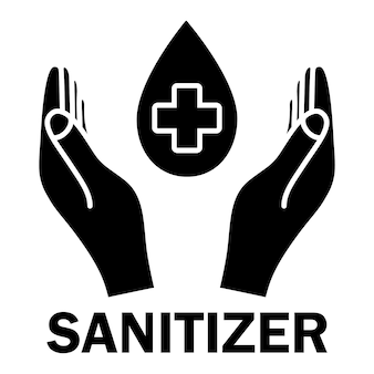 Hand sanitizer glyph icon sanitizer symbol concept of hygiene cleanliness disinfection