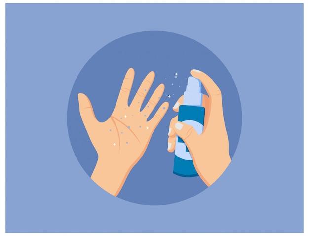 フラットデザインの手指消毒剤