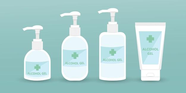 手消毒剤ポンプボトル、アルコールゲル、イラスト。