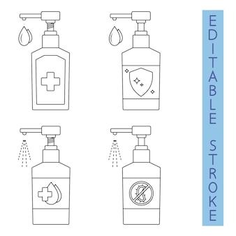 손 세정제. 항균 액체를 분사합니다. 손소독제 디스펜서. 살균 액체 비누. 개요에서 병의 실루엣입니다. 보습 방부제를 적용합니다. 방부제 젤. 편집 가능. 벡터
