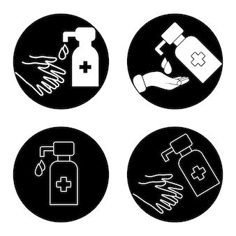 손 소독제 스테이션. 물 방울과 액체 비누 병입니다. 손을 씻으세요. 보습제를 바르는 것. 위생 절차의 아이콘입니다. 멸균 표면. 약제사. 방부제 알코올 젤. 벡터