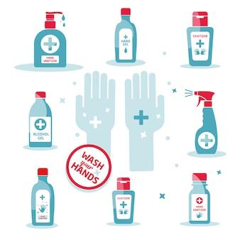 手の消毒剤のシンボル、衛生、白で隔離されるアルコールボトル、記号およびアイコンテンプレート、医療イラスト。