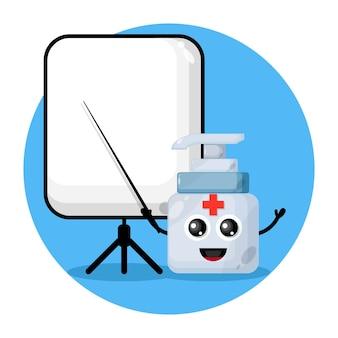 Hand sanitizer teacher cute character logo