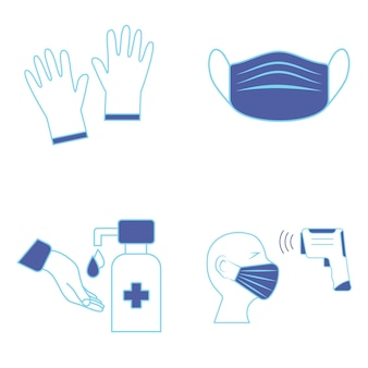 Hand sanitizer and temperature checks station. mask, gloves and temperature scanning are required. healthcare icons. it could be used in the train station, airport or other public transportations