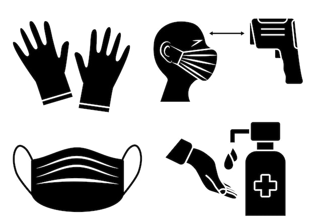 Hand sanitizer and temperature checks station. mask, gloves and temperature scanning are required. healthcare infographic elements. virus prevention icons. vector illustration isolated