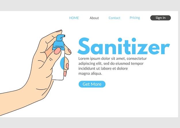 手指消毒剤のウェブランディングページ。消毒剤ディスペンサーの図を保持している人間の手。コロナウイルス病の消毒、衛生およびヘルスケア。医学的予防とエピデミックの安全性。
