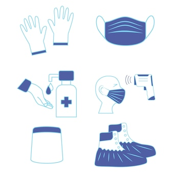 Hand sanitizing and temperature check station. shoe covers. face shield. mask, gloves and temperature scanning are required. protective medical covers. medical personal protective equipment