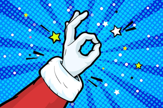 Hand of santa claus in red suit and mitten showing the gesture of ok in pop art style. hand sign in retro comics style, okay hand gesture on blue background. vector illustration