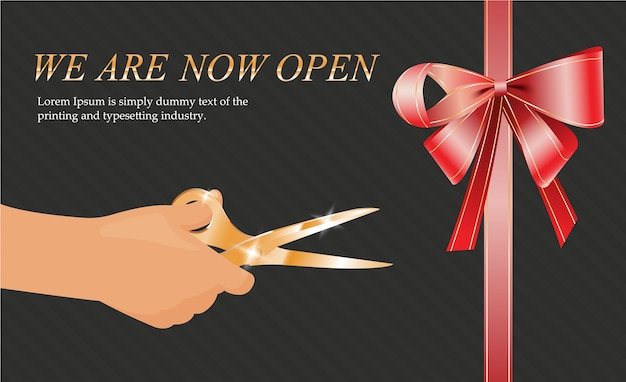 Hand scissors cutting red ribbon, opening invitation cards, template