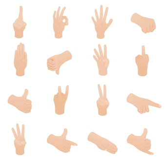 Hand set in isometric 3d style isolated on white background