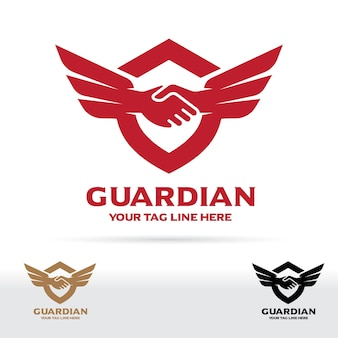 Hand shake and wing logo