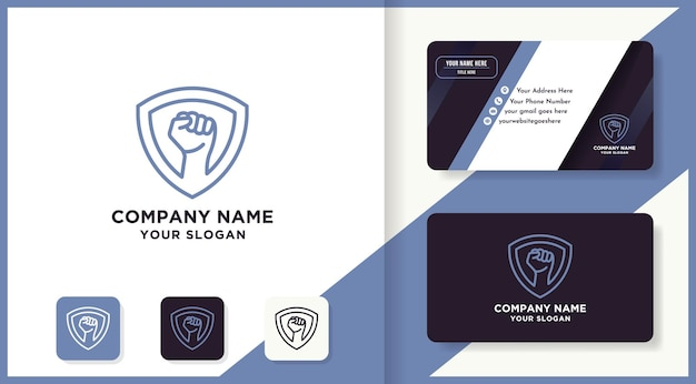 Дизайн логотипа щита руки использует концепцию монолинии и визитную карточку