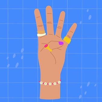 네 손가락 다채로운 그림을 보여주는 손 네 손가락을 세는 손 네 손가락을 올린 손