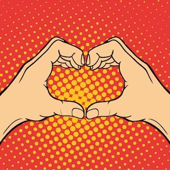 手の心を示すろうミュートジェスチャー人間の腕は、コミュニケーションと方向設計拳タッチポップアートスタイルのカラフルなイラストを保持します。