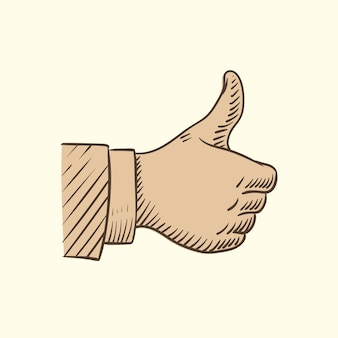 Hand showing like symbol, sketch thumbs up vector